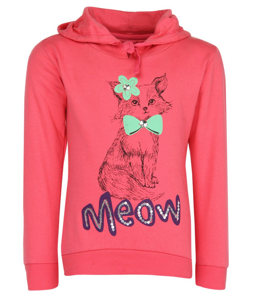 Gini & Jony Pink Printed Hooded Sweatshirt