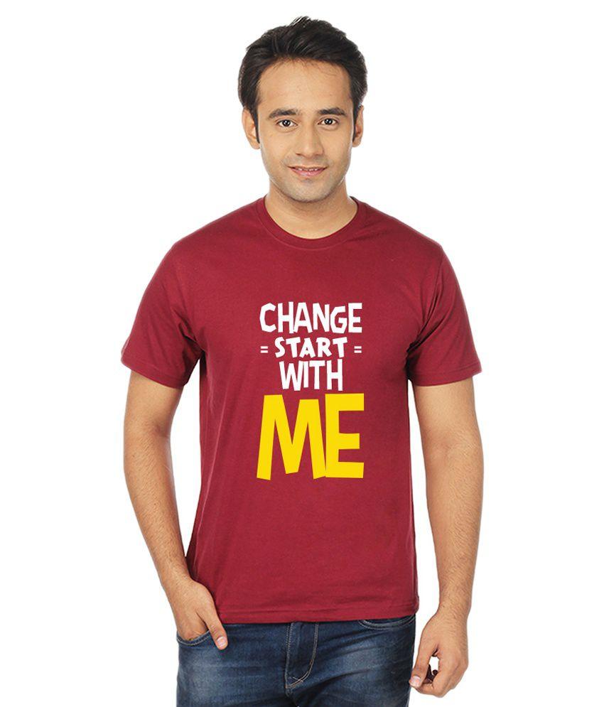 IM Bindass Maroon Cotton T-Shirt