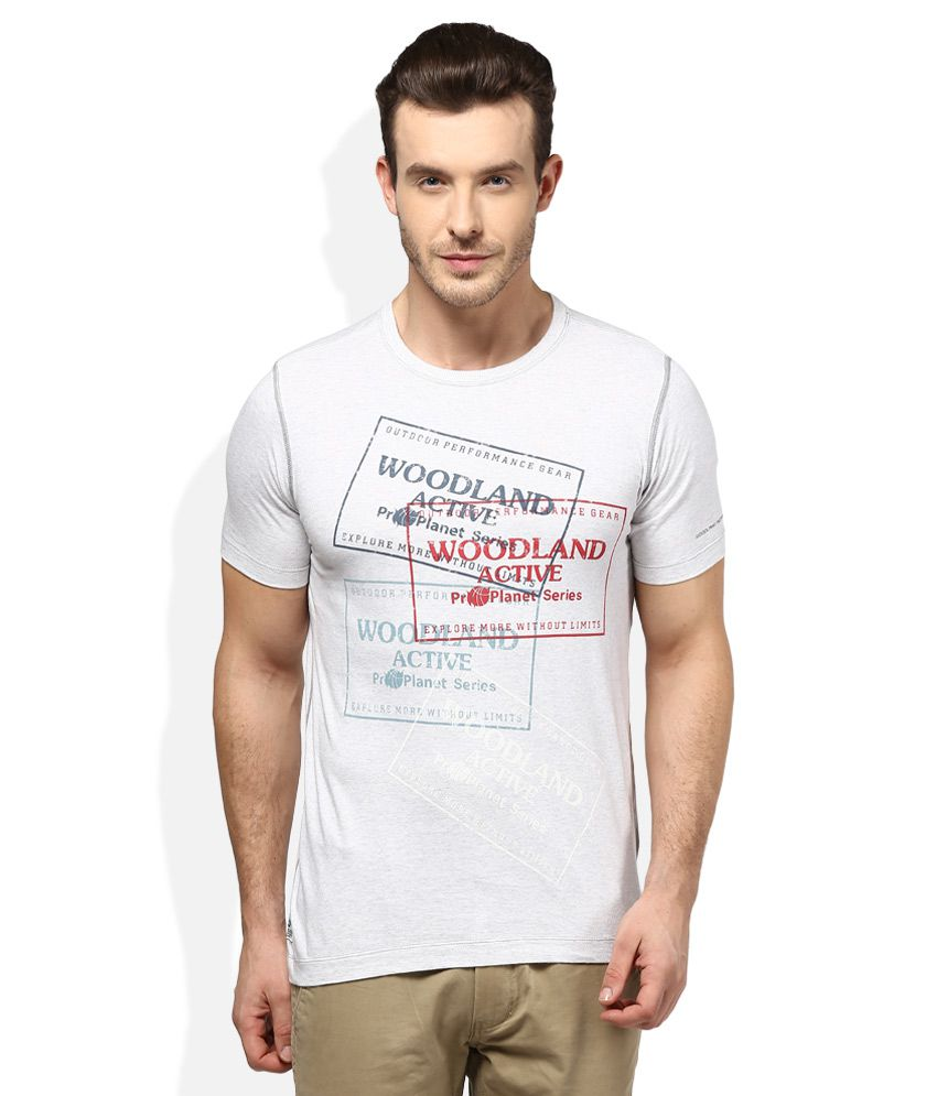 Woodland White Round Neck T Shirt