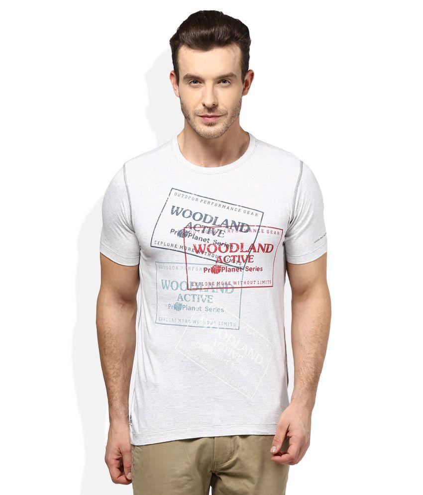 Woodland White Round Neck T Shirt