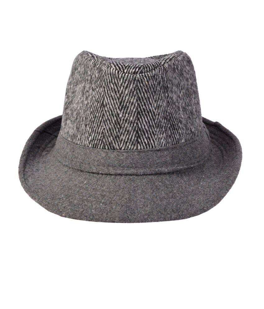 Alvaro Castagnino Grey Polyester Fidora Hat For Men