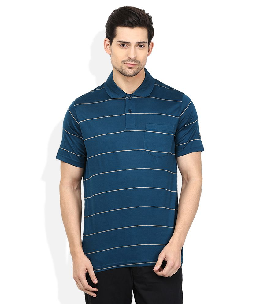 Proline Blue Striped Polo T Shirt