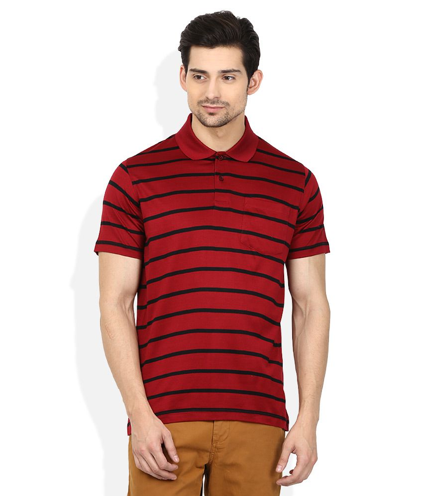Proline Red Striped Polo T Shirt