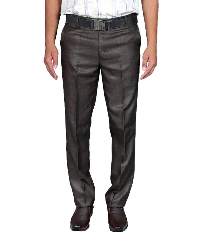 Febulous Black Poly Viscose Regular Fit Formal Trouser