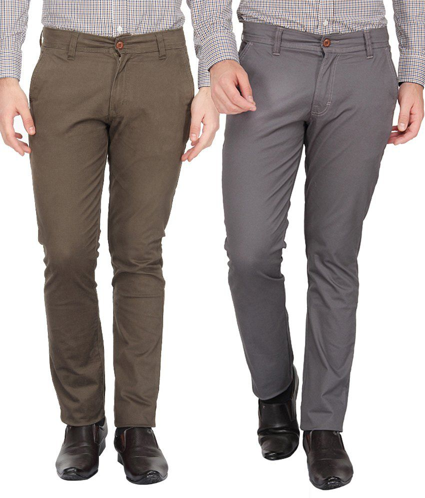 Pepe Jeans Cotton Lycra Grey & Brown Slim Fit Casual Trousers - Pack of 2