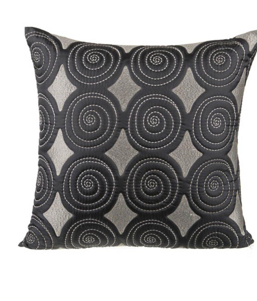 Onset Black Polysilk Cushion Cover 20X20 Inches