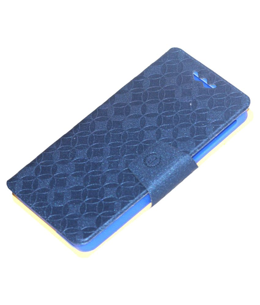 Jo Jo Flip Cover With Silicon Holder For Micromax A77 Canvas Juice - Blue