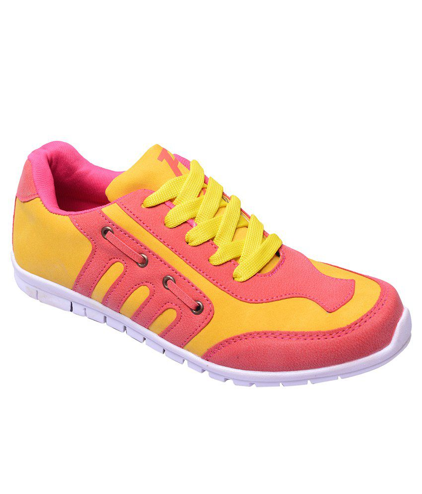 follie pink yellow sports shoes price in india buy