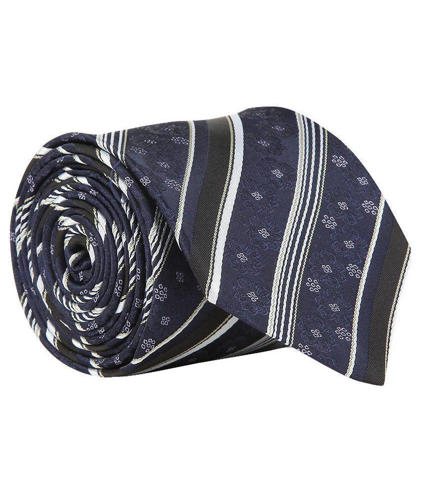 Vermello Navy Blue and Black Abstract Design Micro Fibre Formal Necktie