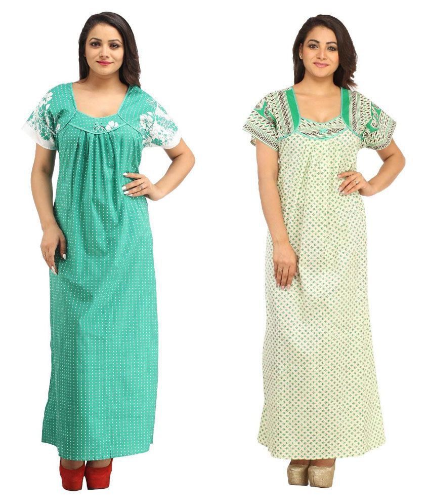 Aasma Multi Color Cotton Nighty & Night Gowns Pack of 2