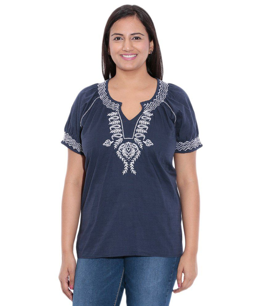 Entease Navy Blue & White Cotton Solid Top