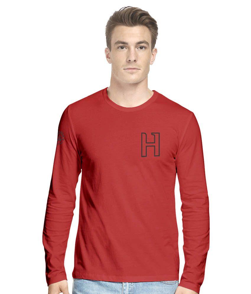 Hueman Red Cotton Blend T-Shirt