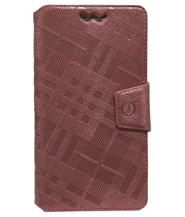 Jo Jo Synthetic Flip Cover For LG AKA - Light Brown