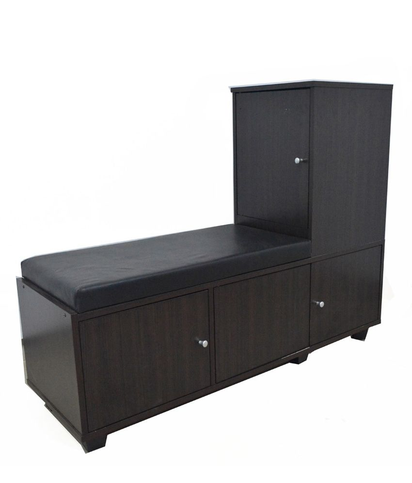 Eros Wood Furniture Cushioned Seat With Shoe Rack Storage Cabinet