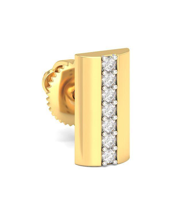 Bluestone 14 Kt Yellow Gold & Diamond Melange Mens Stud Earrings