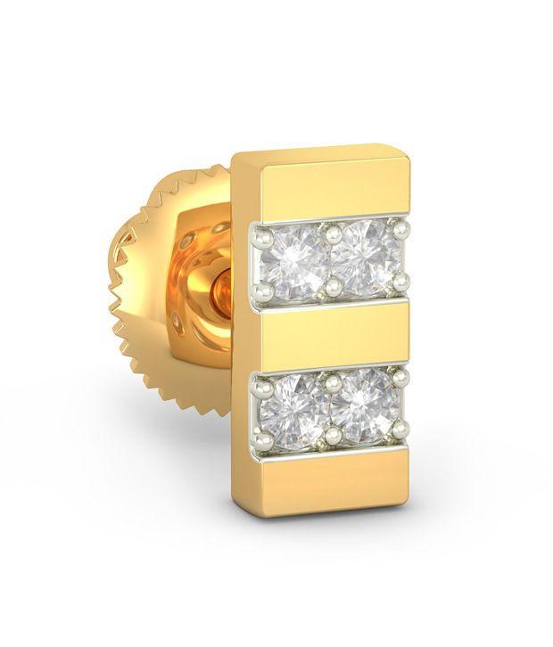 Bluestone 18 Kt Yellow Gold & Diamond Nouveau Mens Stud Earrings