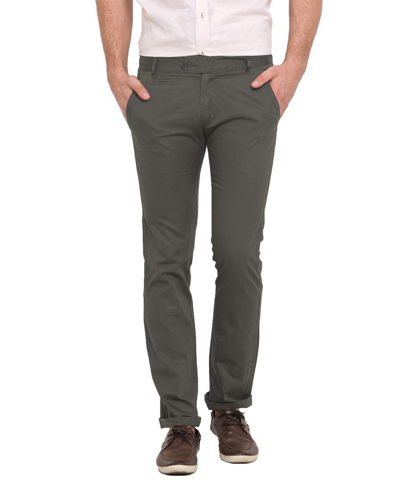 Ennoble Green Slim Fit Casual Chinos