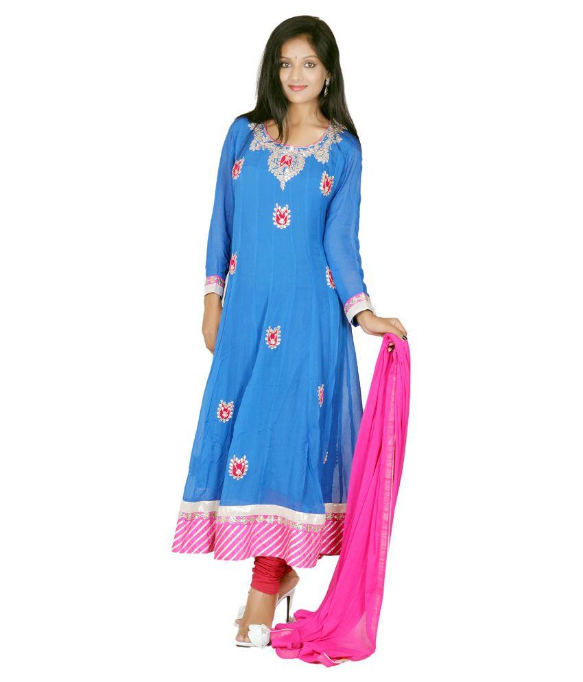 Tehzeeb Blue Faux Georgette Stitched Suit