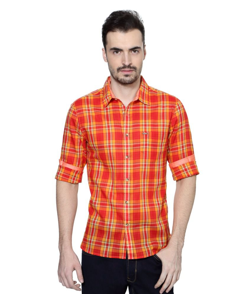 Peter England Red and Yellow Cotton Shirt