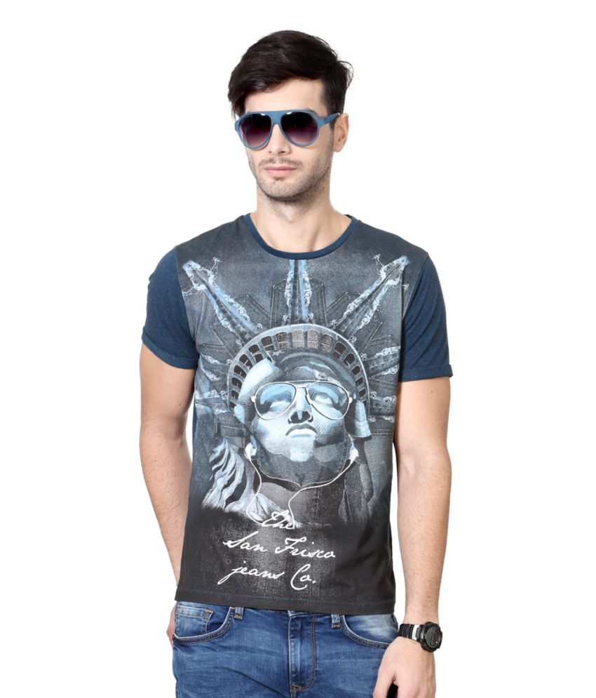 SF Jeans by Pantaloons Grey and Blue Blended Cotton T-shirt