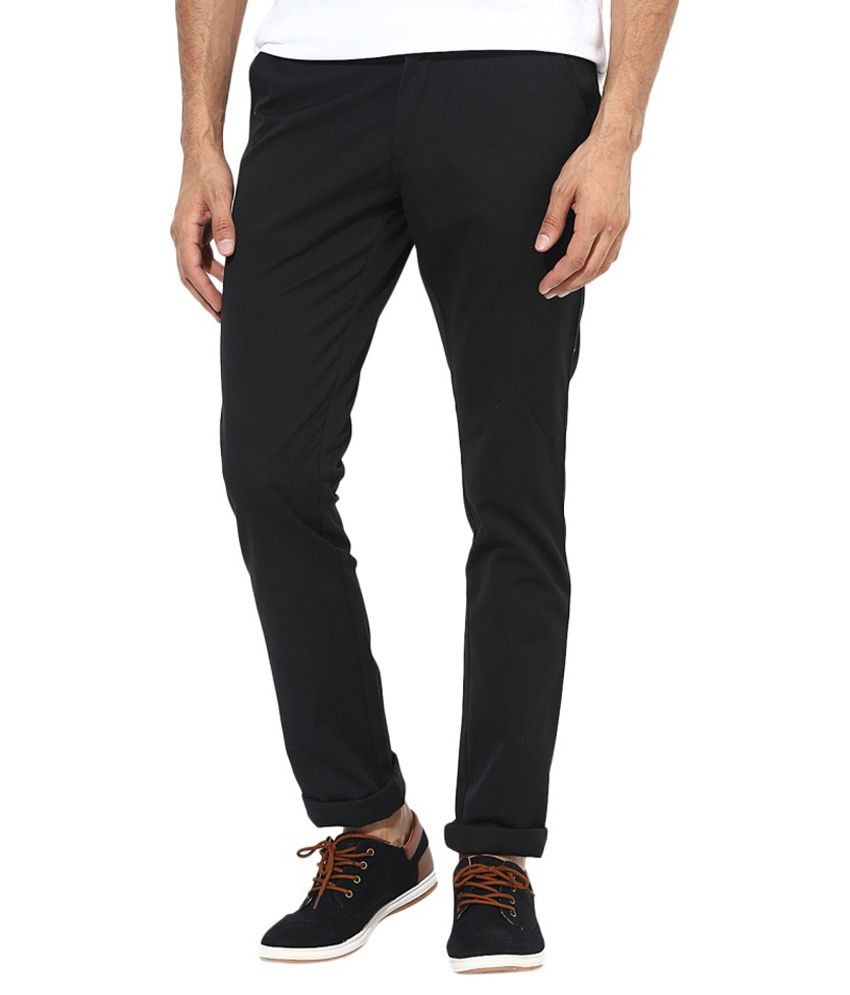 Cherry Uniforms Black Slim Fit Casual Chinos - Pack Of 2