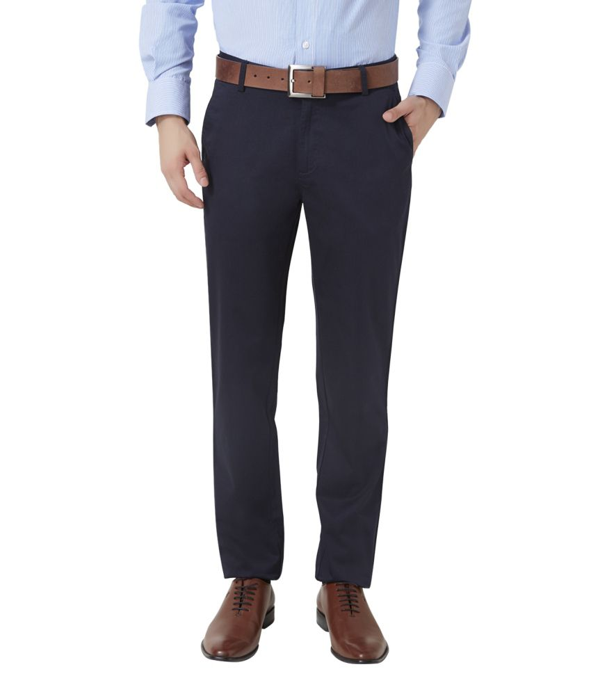 Peter England Navy Blended Cotton Flat Trousers