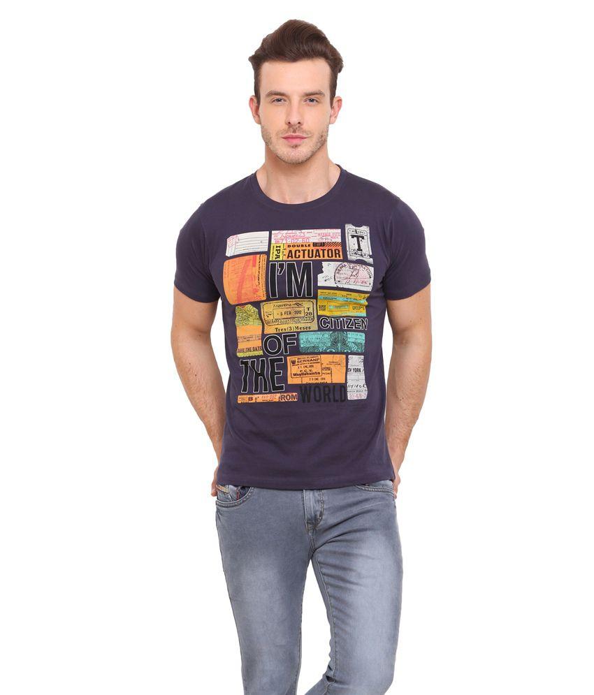 Mode Vetements Navy Blue Cotton Blend T-Shirt
