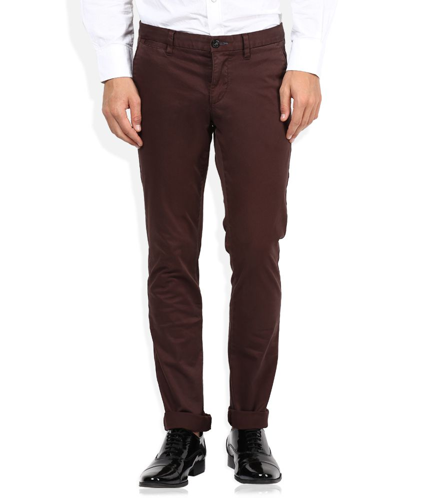 Sisley Maroon Slim Fit Casual Trousers