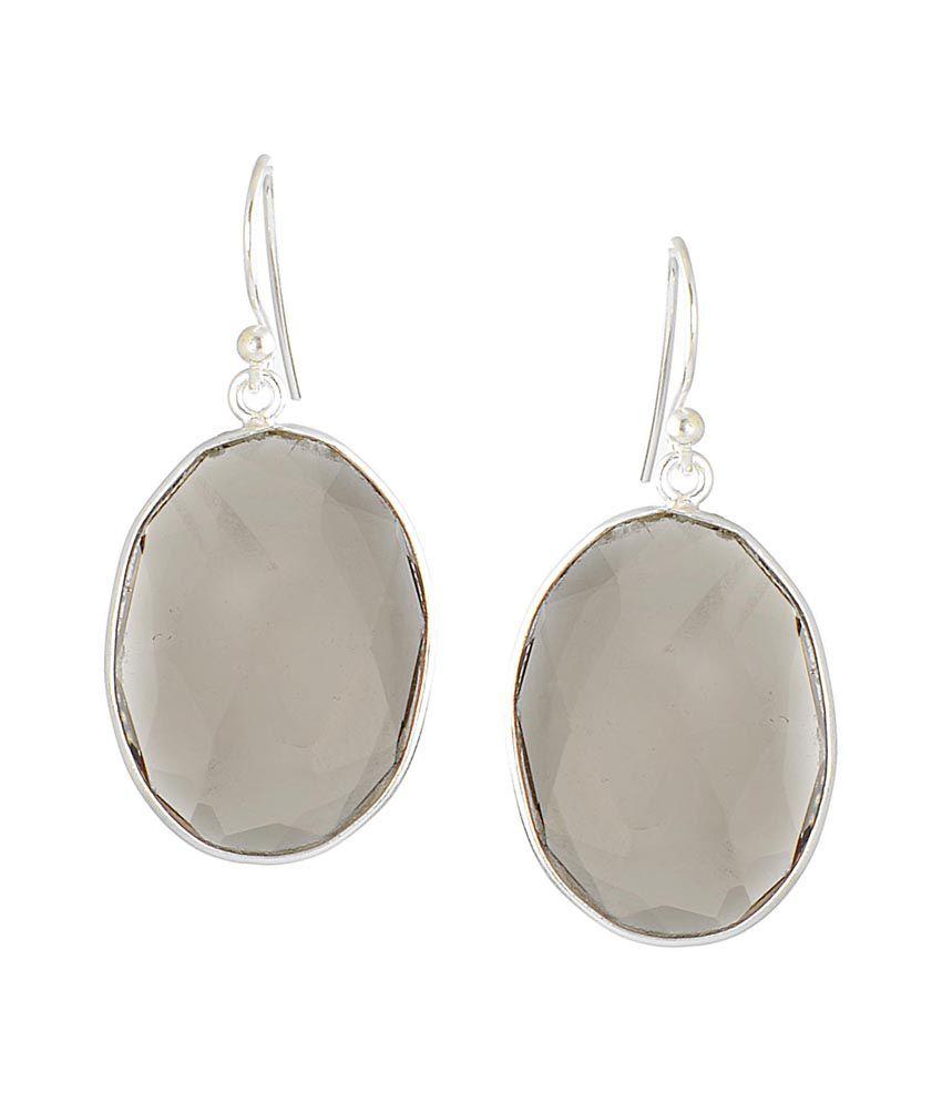 Jewels Of Jaipur Gray Antique Drop Earrings