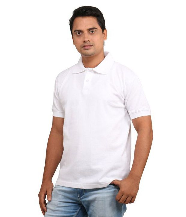 Loox By Apoorti White Half Sleeve Cotton Polo T-Shirt