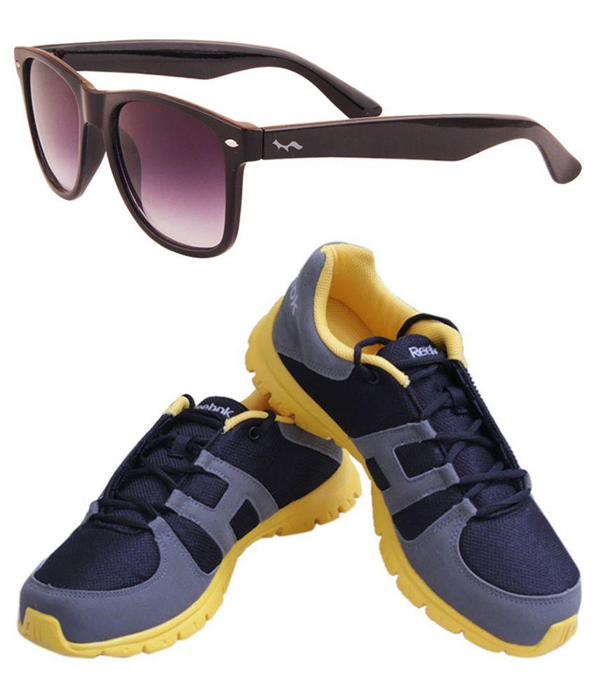 Reebok Gray Sport Shoes with Fastfox Wayfarer Sunglasses