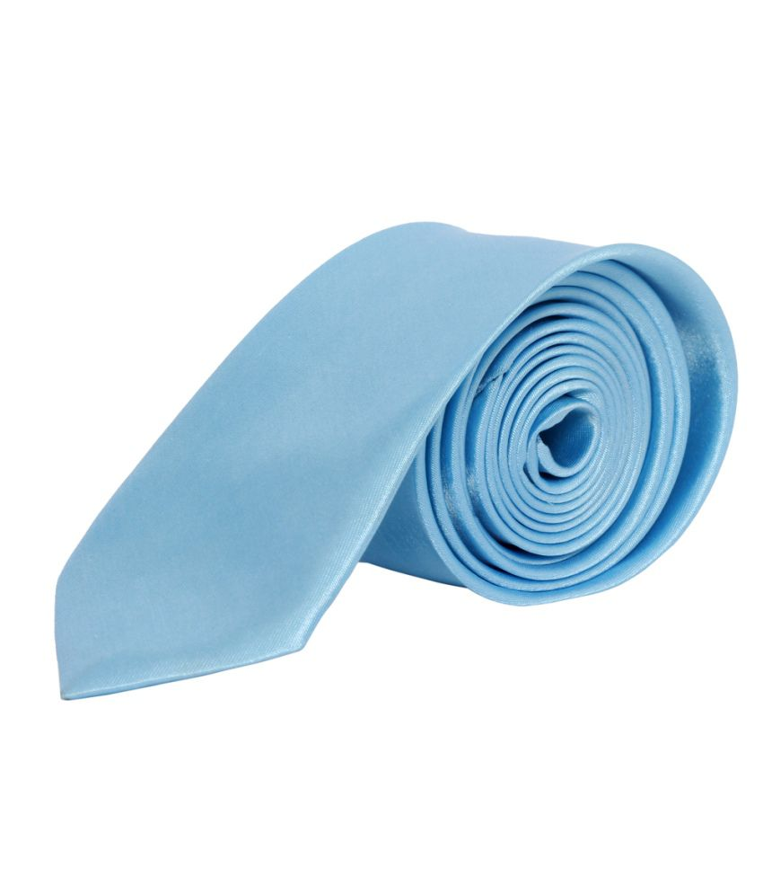 Winsome Deal Blue Satin Formal Thin Tie