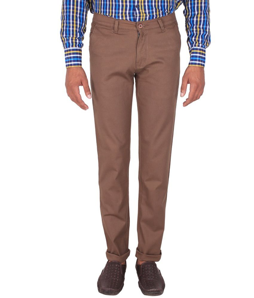 Fluidic Brown Regular Fit Casual Flat Trouser
