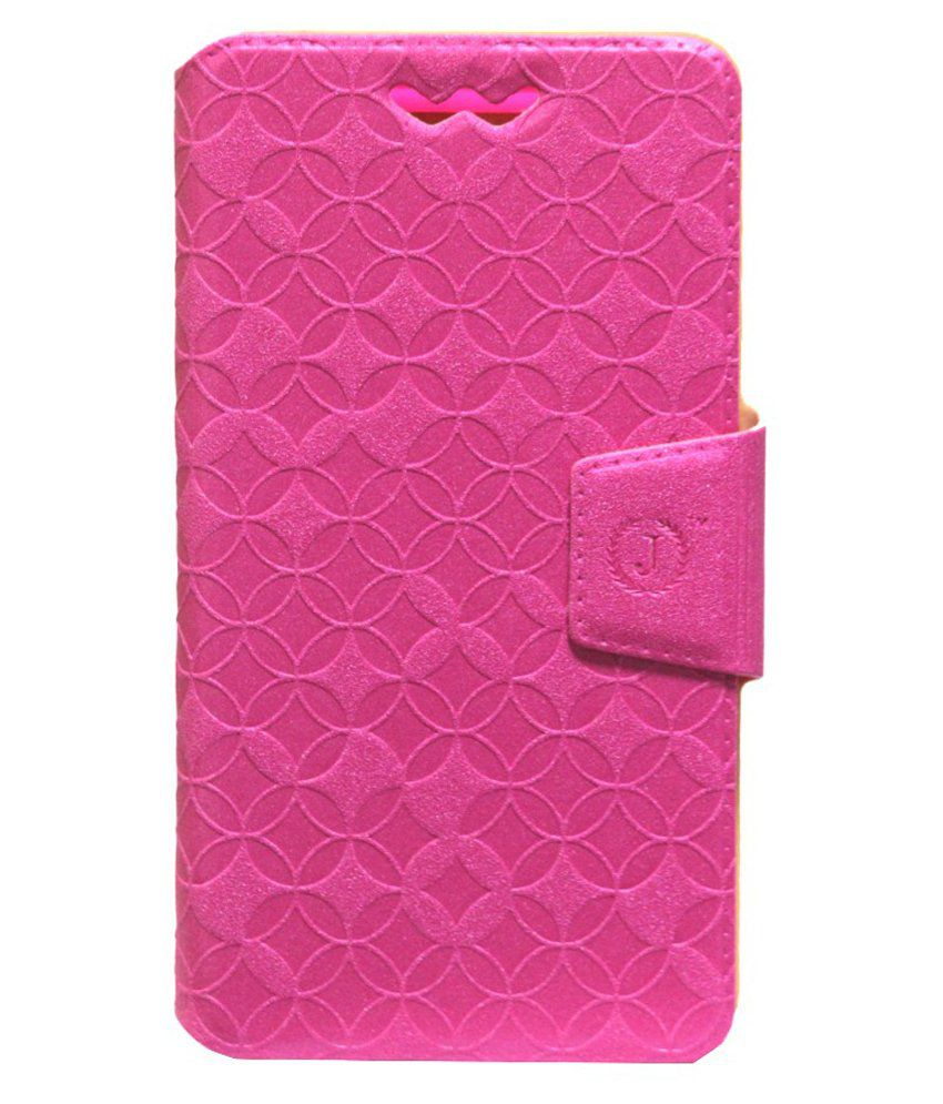 Jo Jo Flip Case Cover With Silicone Holder For iBall Andi 5H Quadro Pink available at SnapDeal for Rs.590