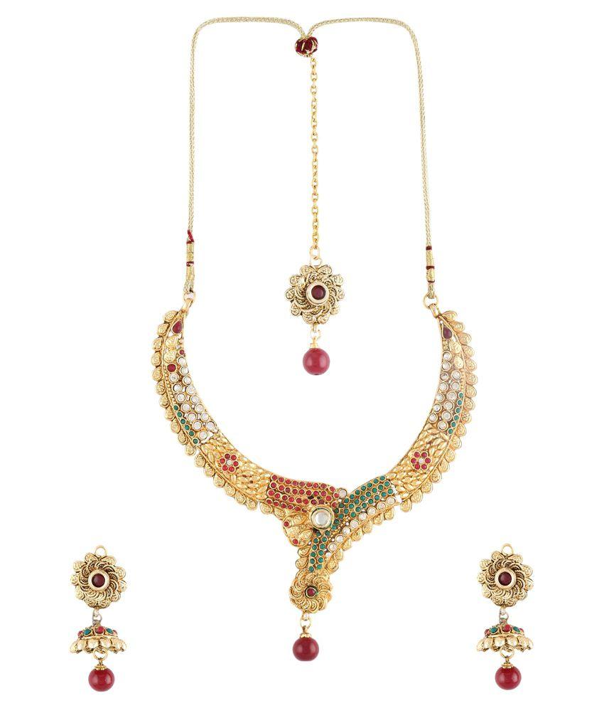DG Jewels Multicolour Austrian Diamond Designer Necklace Set With Maang Tika