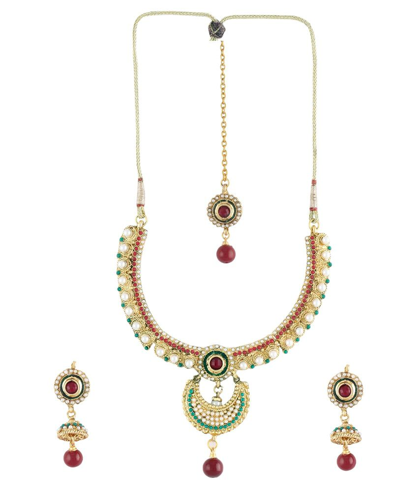 DG Jewels Multicolour Pearl Designer Necklace Set With Maang Tika