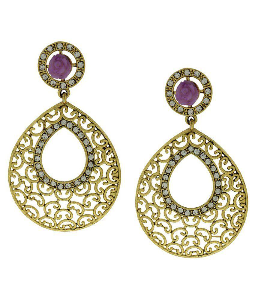 DG Jewels Purple Austrian Diamond Designer Hanging Earrings