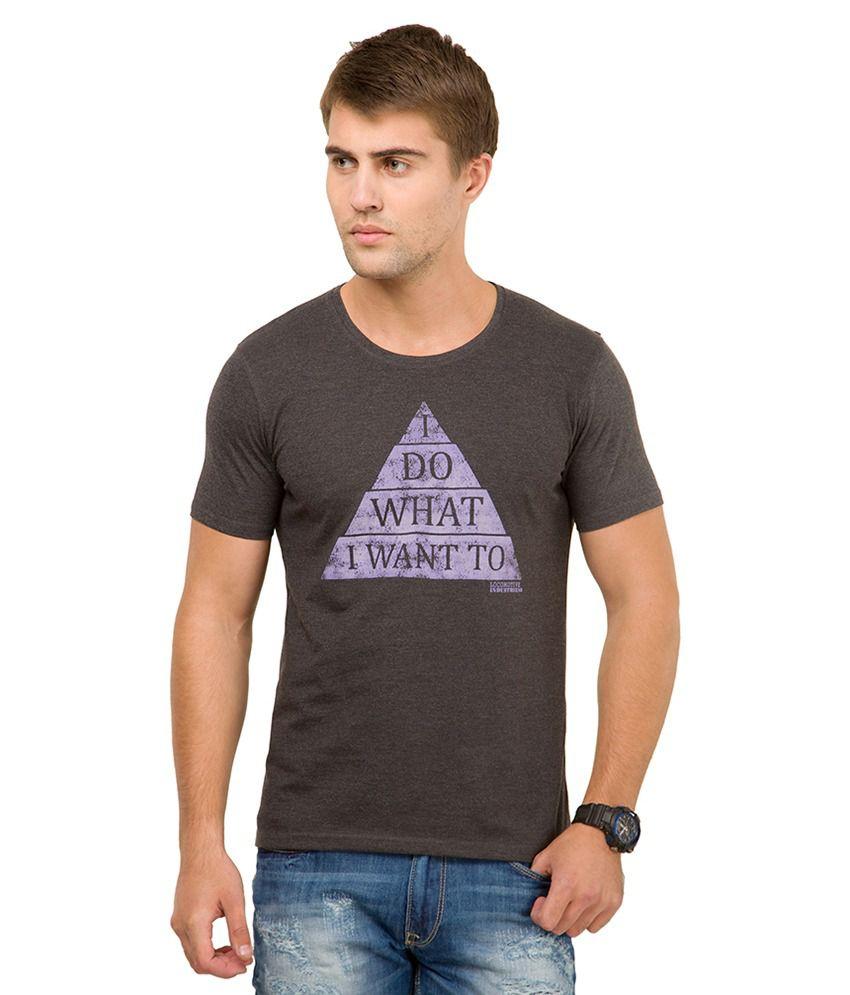 Locomotive Black Printed Round Neck T-Shirt