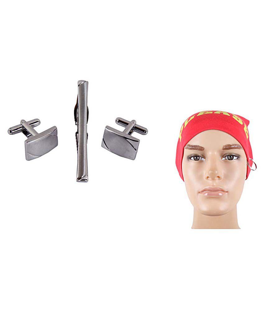 Sushito Combo Of Silver Cufflink, Tie Pin & Head Wrap