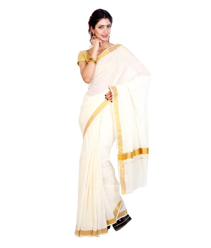35c2002ea5 Fashion Kiosks White and Grey and Golden Kasavu Cotton Saree - Buy ...