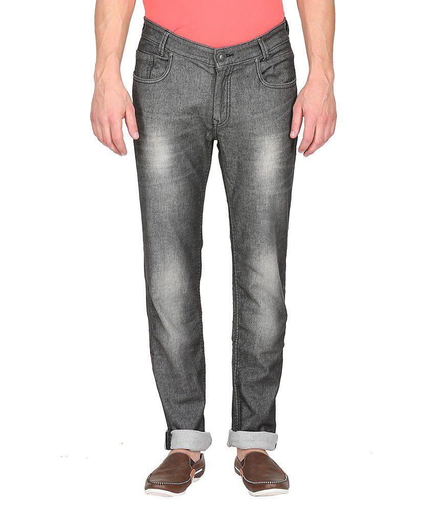 Mufti Grey Light Wash Regular Fit Jeans