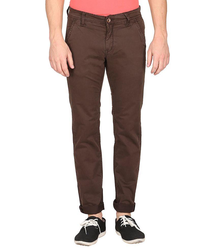 Mufti Brown Slim Fit Trouser