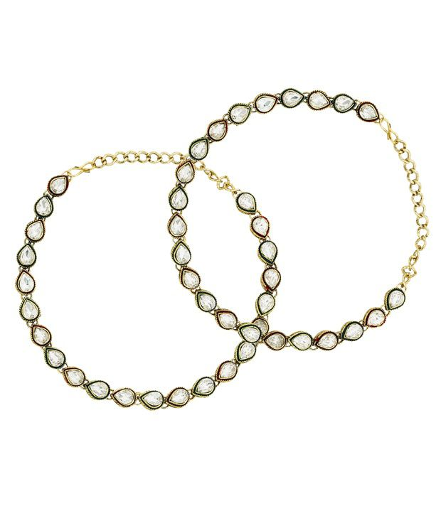The Jewelbox White Copper Pair Of Anklets