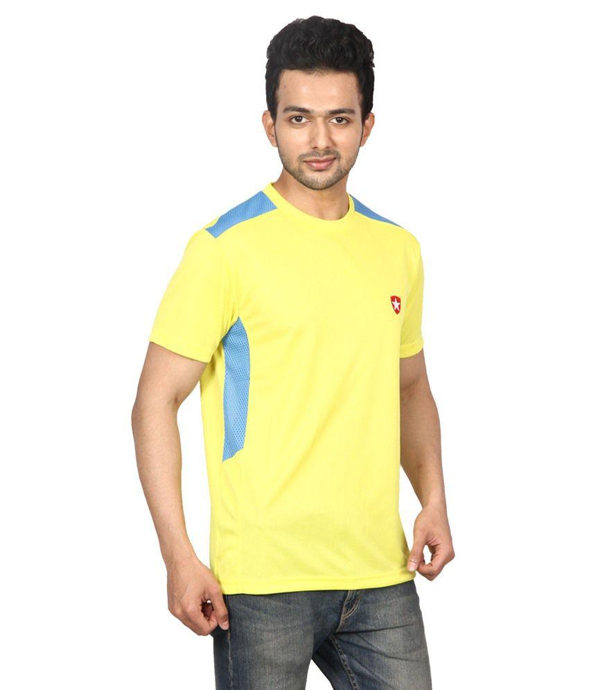 Gaames Yellow & Blue Polyester T-Shirt