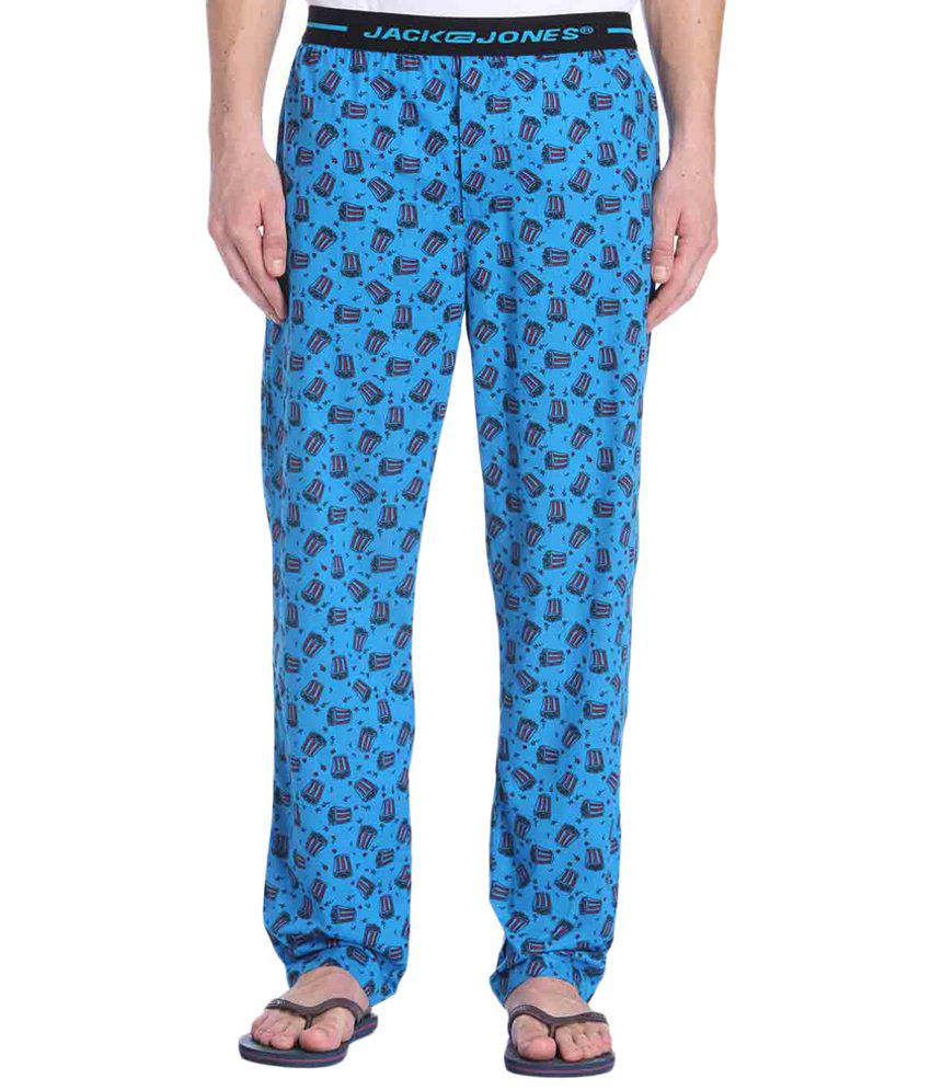 Jack & Jones Blue & Black Printed Pyjamas