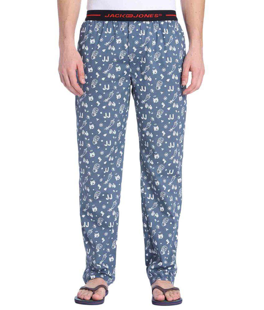 Jack & Jones Blue & White Printed Pyjamas