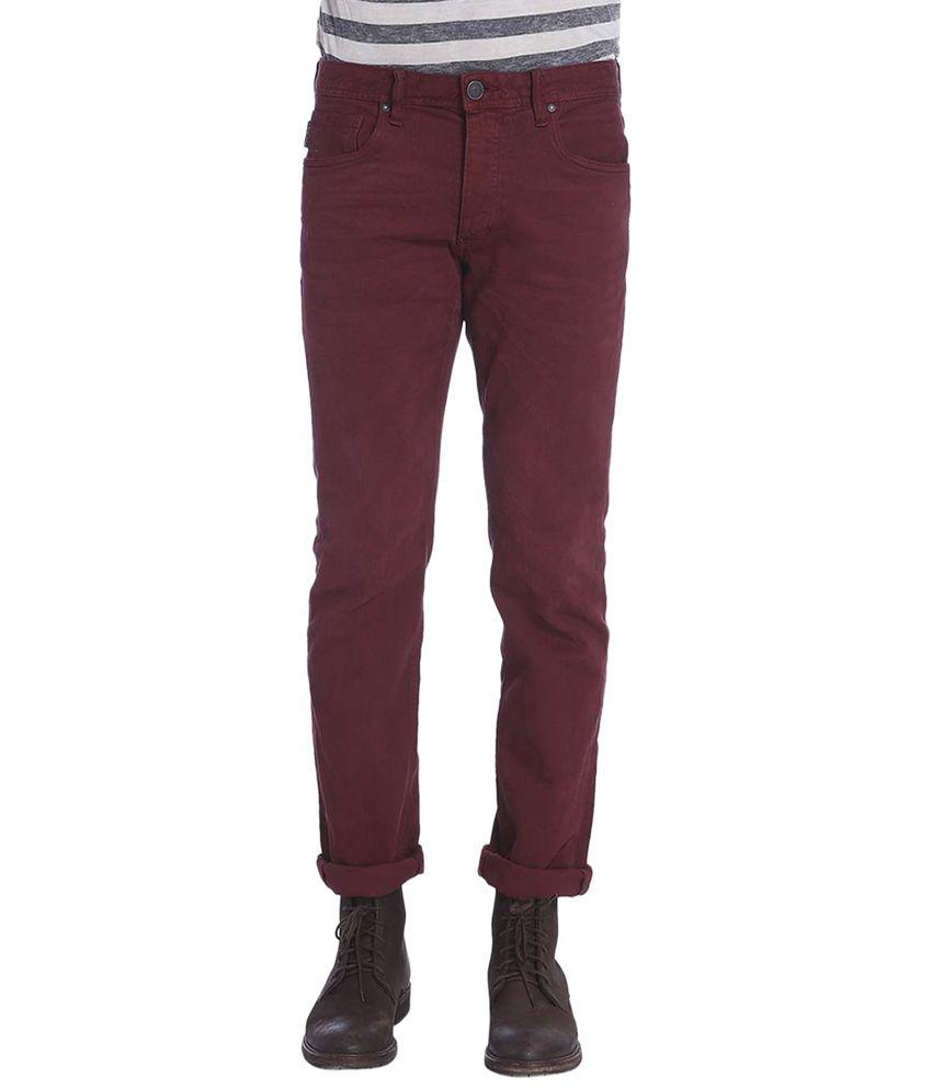 Jack & Jones Maroon Slim Fit Jeans