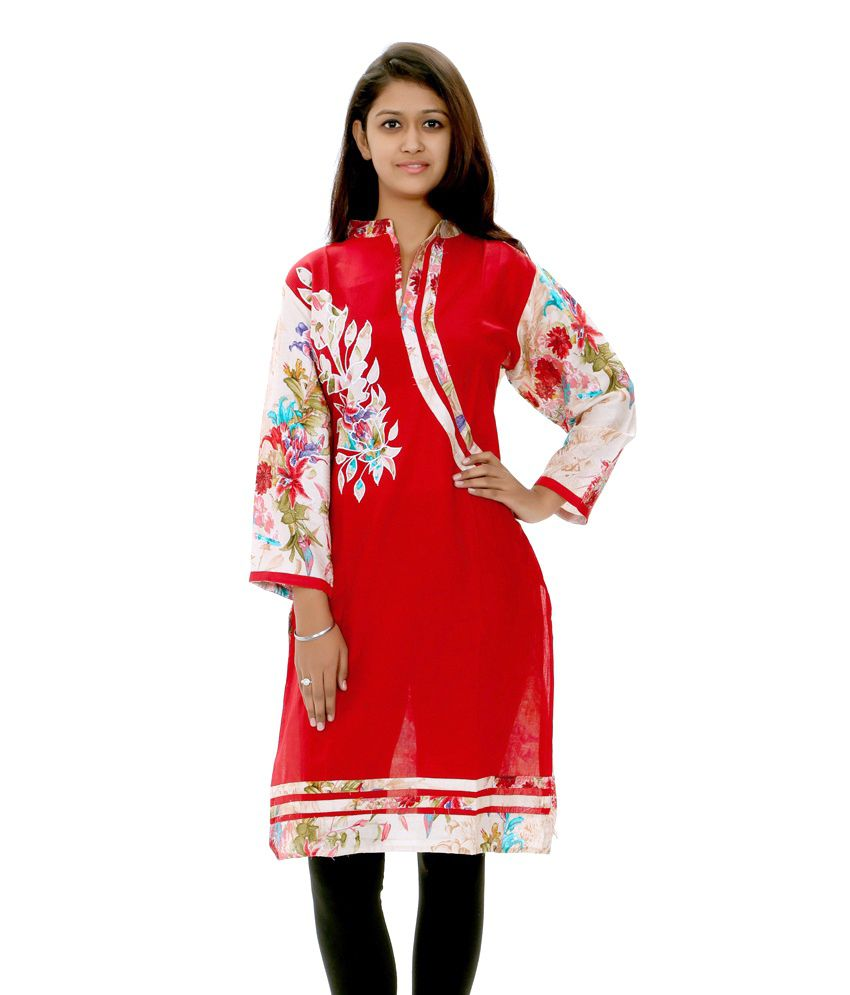 Style Junction Red Cotton Kurti