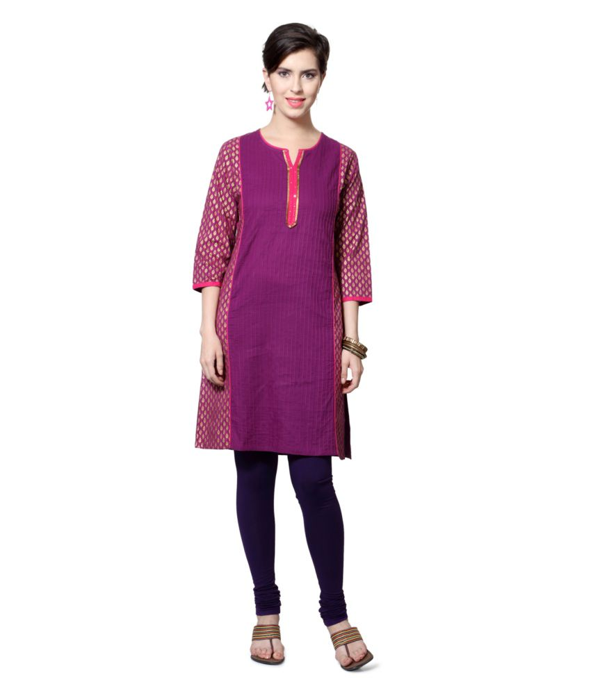 Rangmanch by Pantaloons Purple and Golden Cotton Salwar Suit