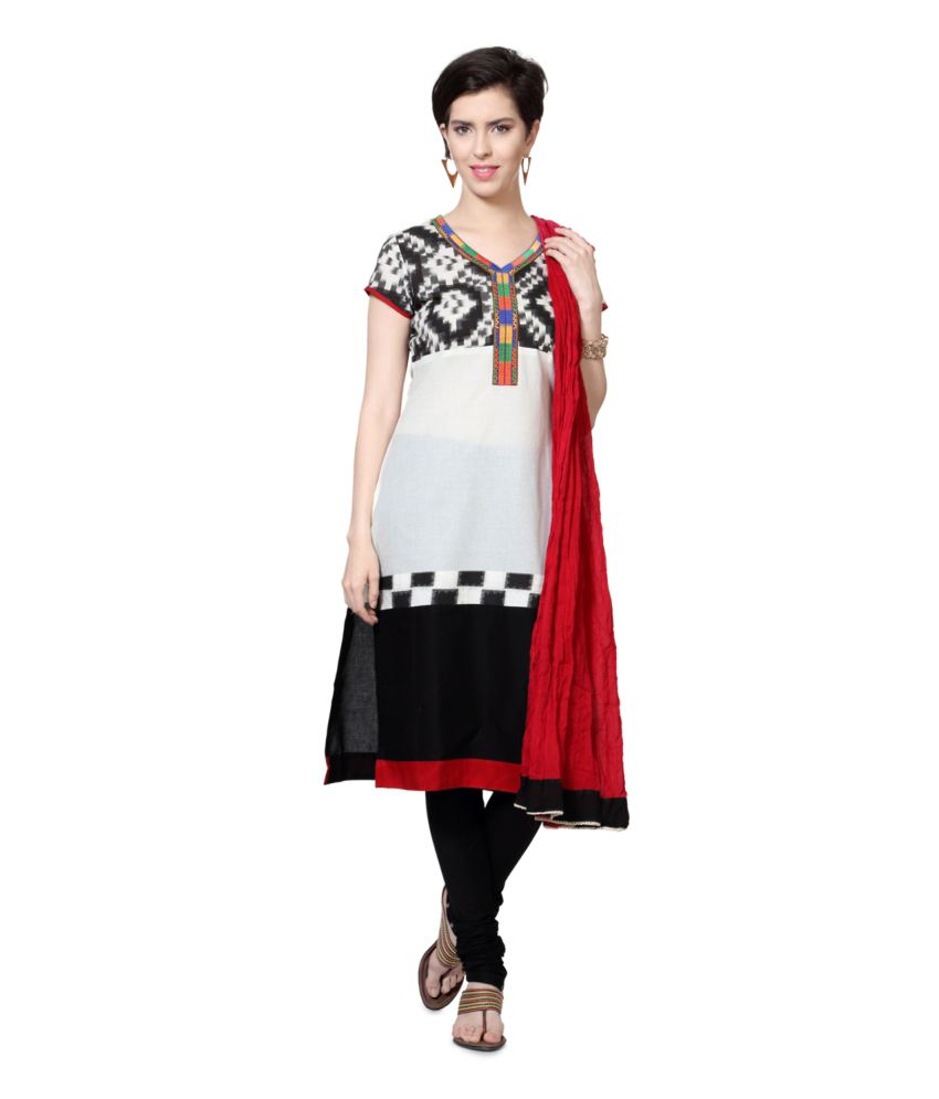 Trishaa by Pantaloons White and Black Cotton Salwar Suit
